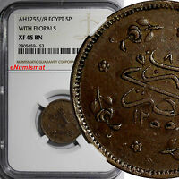 EGYPT AH1255//8 1846 5 PARA NGC XF45 BN 1 GRADED HIGHEST KEY DATE  KM223