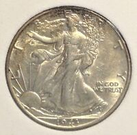 1943-D 50C WALKING LIBERTY - UNC - LY TONED W/ LUSTER - LOT 1011.50