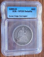 1860 S 50C SEATED LIBERTY HALF DOLLAR ICG VF 25 DETAILS OUTER EDGE DAMAGE