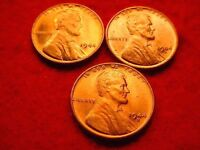 1944 P/D/S 3 LINCOLN CENTS GREAT BU RED COINS  40