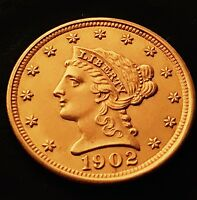 1902 BEAUTIFUL $2.5 GOLD QUARTER EAGLE LIBERTY CORONET HEAD