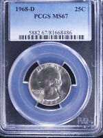 1968 D 25C WASHINGTON QUARTER PCGS MS67