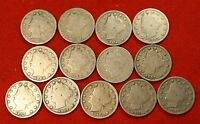 1900-1912 LIBERTY V NICKEL G FULL RIMS COLLECTOR 13 COINS  QUALITY LN550