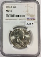 1953 S FRANKLIN 50C 6158 NGC MS65. NICE FROSTY WHITE. CAREFULLY CHECK OUT THE