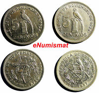 GUATEMALA SILVER LOT OF  2 COINS 1932,1937 5 CENTAVOS XF/AUNC  COND  KM 238.2