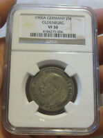 OLDENBURG GERMANY   1900 A SILVER 2 MARK NGC VF 30