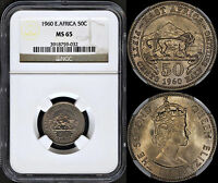 BRITISH EAST AFRICA 50 CENTS 1960 NGC MS65 PREMIUM QUALITY