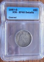 1857 O  SEATED LIBERTY QUARTER   EF40 DETAILS   CLEANED  ICG