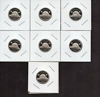 LOT OF 7 CANADA FROSTED PROOF 5 CENTS UNCIRCULATED FROM PROOF SET FAIR PRICE