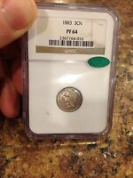 1883 3 CENT NICKEL NGC PF64 CAC ONLY 6,609 MINTED