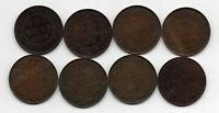 LOT OF 8 CANADA ONE LARGE CENT 1881 1910 1912 1913 1915 1918 1920