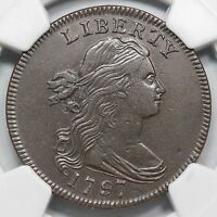 1797 S 120B NGC AU DETAILS GRIPPED EDGE DRAPED BUST LARGE CENT COIN 1C