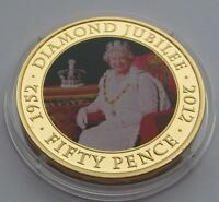 JERSEY GOLD PLATED 50 PENCE PICTURE COIN DATED 2011   DIAMOND JUBILEE