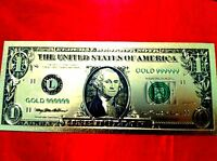 $1 BILLGOLD BANKNOTE USA AMERICA  COLOR COLOURED DOLLAR 24KT COLLECTABLE