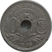 FRANCE 10 CENTIMES 1935 KM866A NICKEL C77