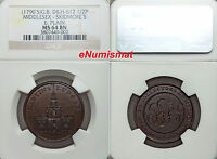 GREAT BRITAIN MIDDLESEX. SKIDMORE'S 1/2 PENNY TOKEN ND 1790'S NGC MS64 BN