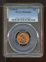 1948 D LINCOLN WHEAT PENNY CENT UNCIRCULATED PCGS MS 66 RD RED CERTIFIED AA0232