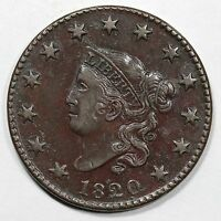 1820 N 6 R 4 EDS SMALL DATE MATRON OR CORONET HEAD LARGE CENT COIN 1C