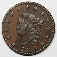1820 N 9 R 3 LARGE DATE EDS MATRON OR CORONET HEAD LARGE CENT COIN 1C