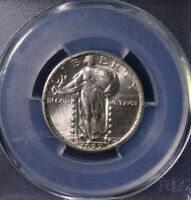 1927 25C STANDING LIBERTY QUARTER UNCIRCULATED FULL HEAD PCGS MINT STATE 63 FH 81198004