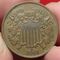 1869 TWO CENT PIECE HIGH GRADE RPD FS-302 VARIETY BETTER DATE 2C