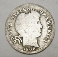 1908  US BARBER ONE SILVER DIME 10 CENTS COIN  L620