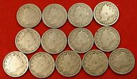 1900-1912 LIBERTY V NICKEL G FULL RIMS COLLECTOR 13 COINS  QUALITY LN557
