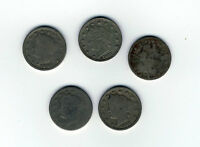 SET OF 5 LIBERTY NICKELS, 1901, 1901, 1911, 191?, 1912  SHIPS FREE