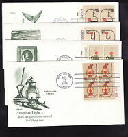 SCOTT 'S 1608, 1610, 1611, 1612  PLATE BLOCKS FIRST DAY COVERS