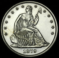 1879 PROOF 50C PR 60 HALF DOLLAR SILVER COIN SEATED LIBERTY ICG US  DATE