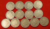 1900-1912 LIBERTY V NICKEL G FULL RIMS COLLECTOR 13 COINS  QUALITY LN554