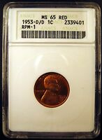 1953-D/D LINCOLN CENT. ANACS CERT.  MINT STATE 65 RED. VARIETY FS 501,CONECA RPM-001
