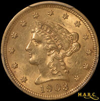 1903 MS62 PCGS 2.5$ GOLD LIBERTY QUARTER EAGLE GREAT UNC TYPE COIN F/S MARC