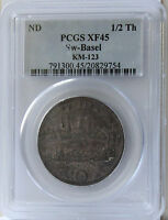 ND 1700'S SWITZERLAND BASEL 1/2 THALER KM 123 PCGS  XF45 NICE ORIGINAL LOOK