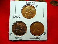 1960 P & D SMALL DATE & 60 LARGE DATE LINCOLN CENTS 3 GREAT BU COINS   275