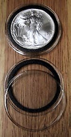 10 BLACK RING TYPE 40MM AIR TITE COIN HOLDERS FOR AMERICAN SILVER EAGLES