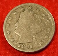 1891 LIBERTY V NICKEL G  DATE BEAUTIFUL COLLECTOR COIN GIFT LN298