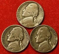 1945 PDS JEFFERSON WAR NICKELS 3 COINS 35 SILVER GREAT COLLECTOR GIFT JN205