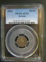 1854 SEATED LIBERTY HALF DIME WITH ARROWS PCGS AU 53 CERT 27511622
