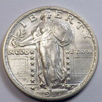 1917 25C TYPE 2 STANDING LIBERTY QUARTER UNCIRCULATED GORGEOUS LUSTER LOT98597