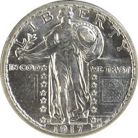 1917 D 25C TYPE 2 STANDING LIBERTY QUARTER UNCIRCULATED GORGEOUS LUSTER LOT78507