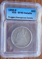 1858 S 50C SEATED LIBERTY HALF DOLLAR ICG EF 40 DETAILS PLUGGED RE ENGRAVED