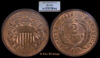 1864 TWO CENTS SHIELD LARGE MOTTO 2C MINT STATE 63 NGC