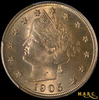 1905 MINT STATE 64 PCGS 5C LIBERTY HEAD NICKEL, BRIGHT AND LUSTROUS SHIPS FREE MARC