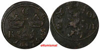 SWEDEN KARL XI 1660 1697 COPPER 1676 S.M.1 ORE KM 254 10328