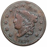 1830 CORONET HEAD LARGE CENT LARGE LETTERS N 3 R.3 ROTATED DIES F DETAIL