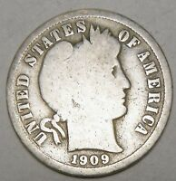 1909  US BARBER ONE SILVER DIME 10 CENTS COIN  L619