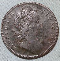 FRANCE JETON COPPER LOUIS XV TOKEN COIN YOUNG HEAD 1715 1774 COMBINED S.& H.