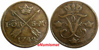 SWEDEN FREDERICK I COPPER 1749 1 ORE S.M.  CHOICE DETAILS  KM 416.1