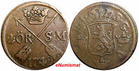 SWEDEN COPPER  FREDERICK I 1749 2 ORE,S.M.STRUCK AT AVESTA MINT .BROWN  KM 437
